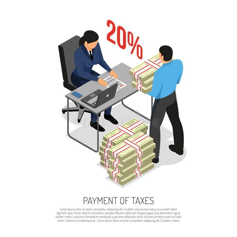 Isometrisk affisch för taxeringsinspektör royaltyfri illustrationer
