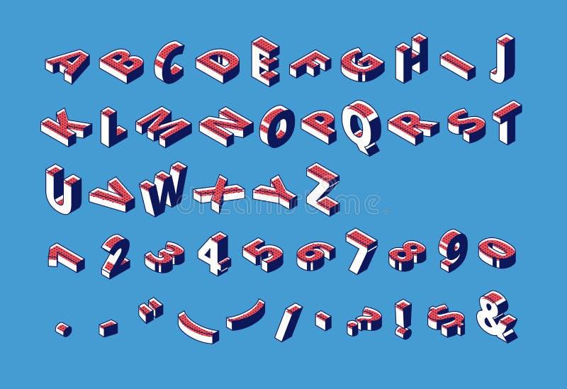Isometrisk alfabet, nummer och interpunktion, abc royaltyfri illustrationer