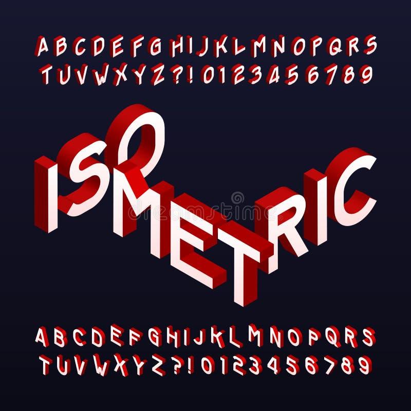 Isometrisk alfabetstilsort Tredimensionella effektbokstäver och nummer vektor illustrationer