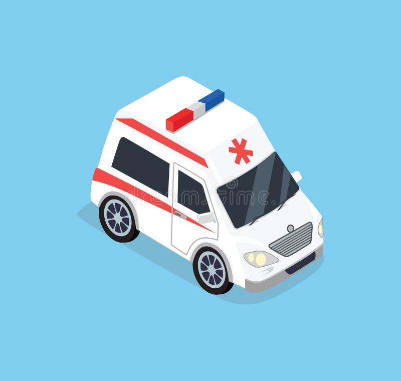 Isometrisk ambulansbil vektor illustrationer
