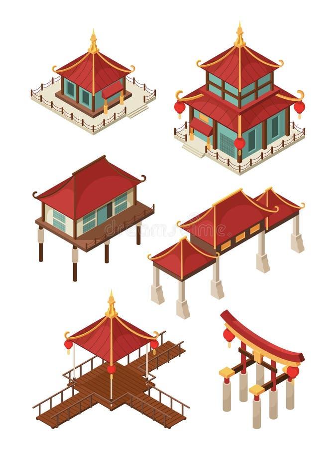 Isometrisk asiatisk arkitektur För takvektor 3d för traditionell kines och för Japan husbyggnader illustrationer stock illustrationer