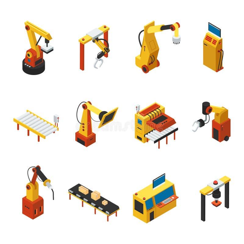 Isometrisk automatiserad maskinuppsättning royaltyfri illustrationer