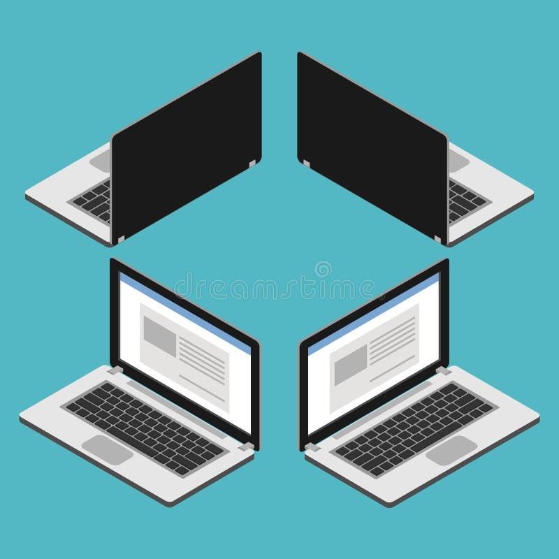 Isometrisk bärbar datordator royaltyfri illustrationer