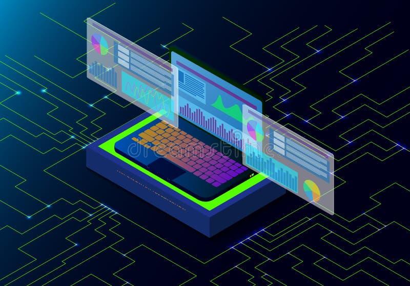 Isometrisk b?rbar dator av vetenskap och att programmera f?r data vektor illustrationer