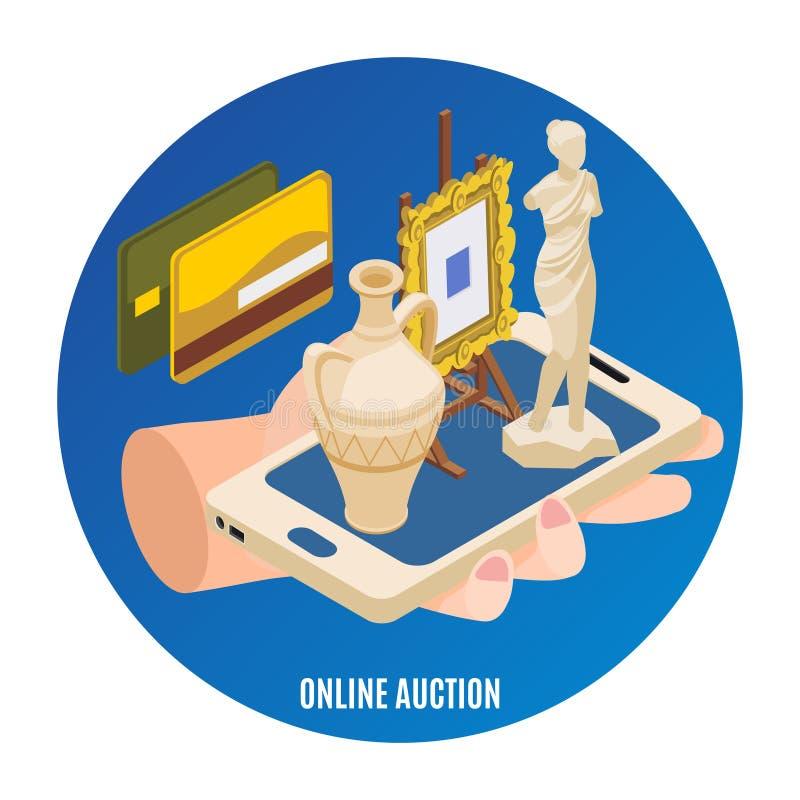 Isometrisk bakgrund för auktion royaltyfri illustrationer