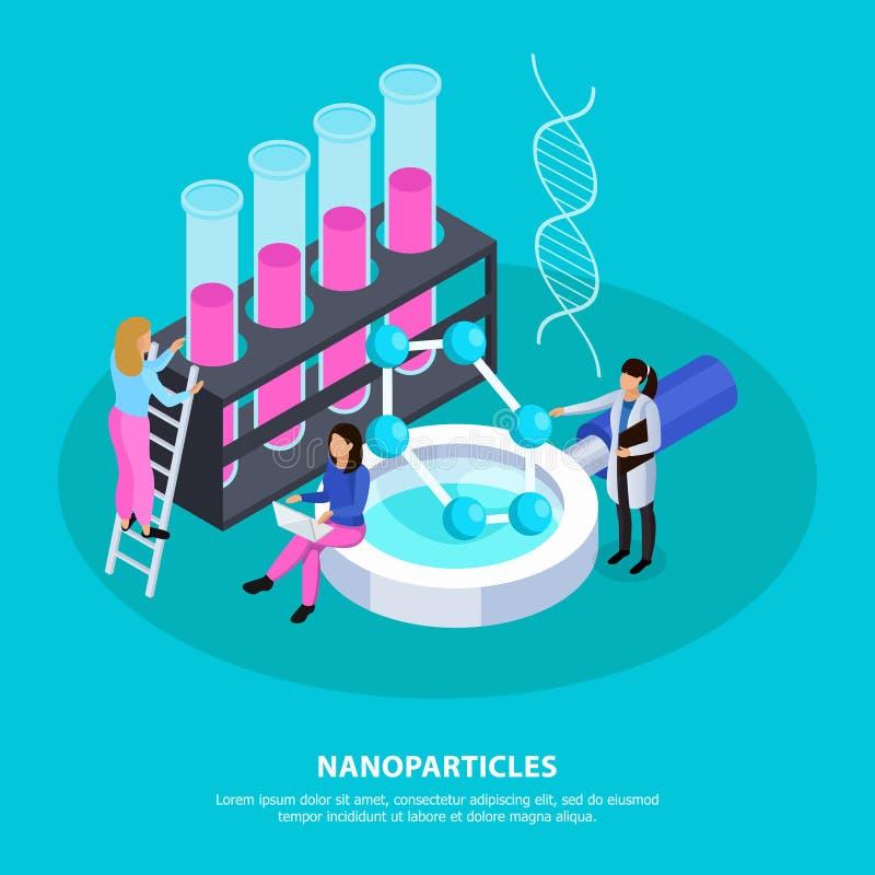Isometrisk bakgrund för Nano partiklar vektor illustrationer