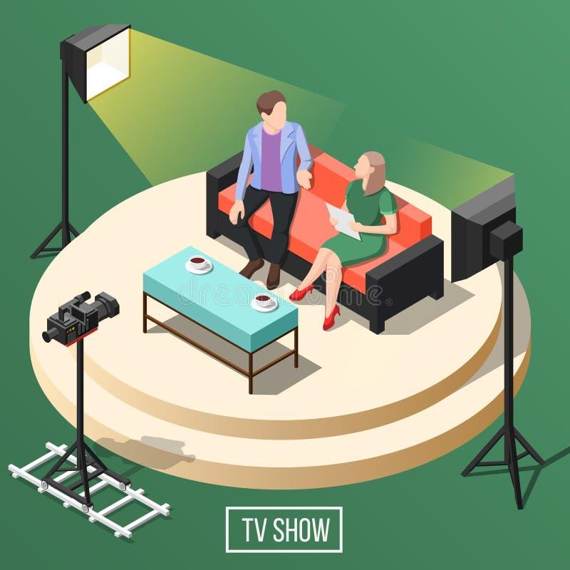Isometrisk bakgrund för TV-program royaltyfri illustrationer