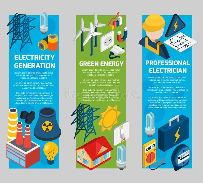 Isometrisk baneruppsättning för elektricitet royaltyfri illustrationer