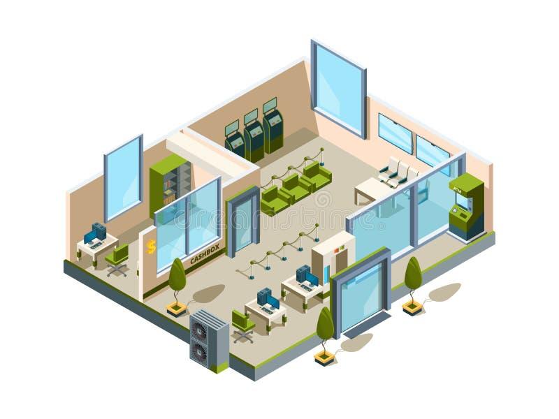 Isometrisk bank Modernt byggande inre kontorsöppet utrymme som packar ihop lobbyservicerum för lågt poly för chefvektor 3d royaltyfri illustrationer