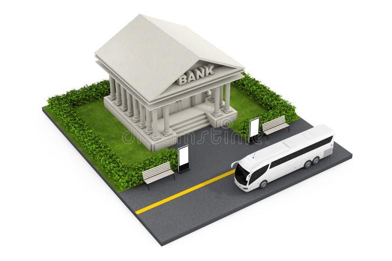 Isometrisk bankfinansbyggnad i stad framförande 3d vektor illustrationer