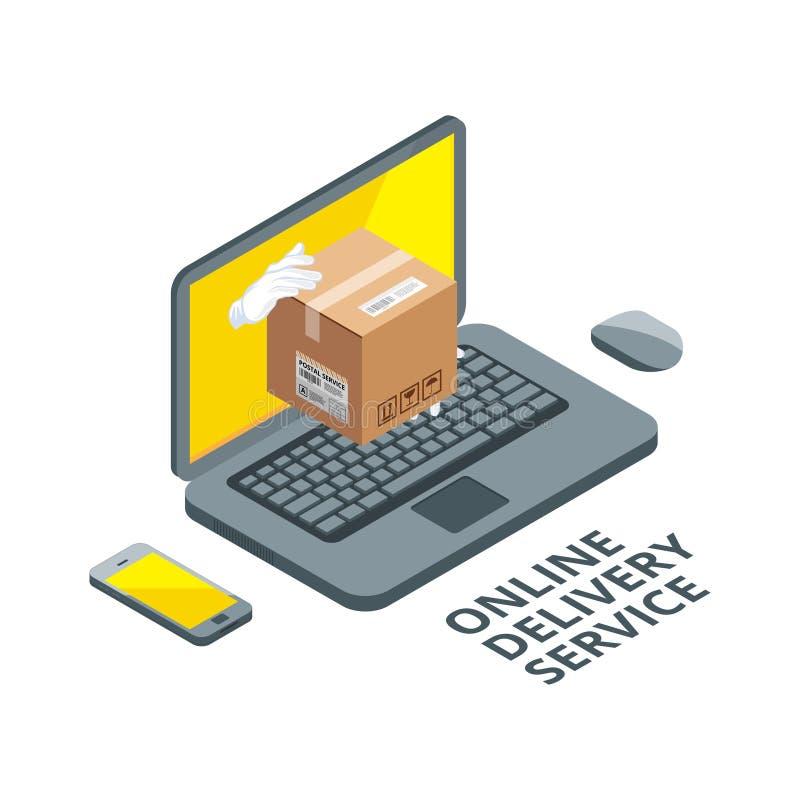 Isometrisk begreppsbild av online-leveransen Verklig packe från bärbar datorskärmen royaltyfri illustrationer