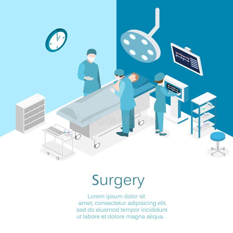 Isometrisk begreppsinre för lägenhet 3D av kirurgiavdelningen royaltyfri illustrationer