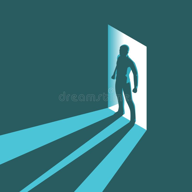 Isometrisk begreppskontur av mannen som skriver in mörkt rum med ljust ljus i dörröppning royaltyfri illustrationer
