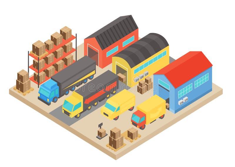 Isometrisk begreppssammansättning för lager Modern byggnadslagring med anställda och hyllor med askar vektor royaltyfri illustrationer