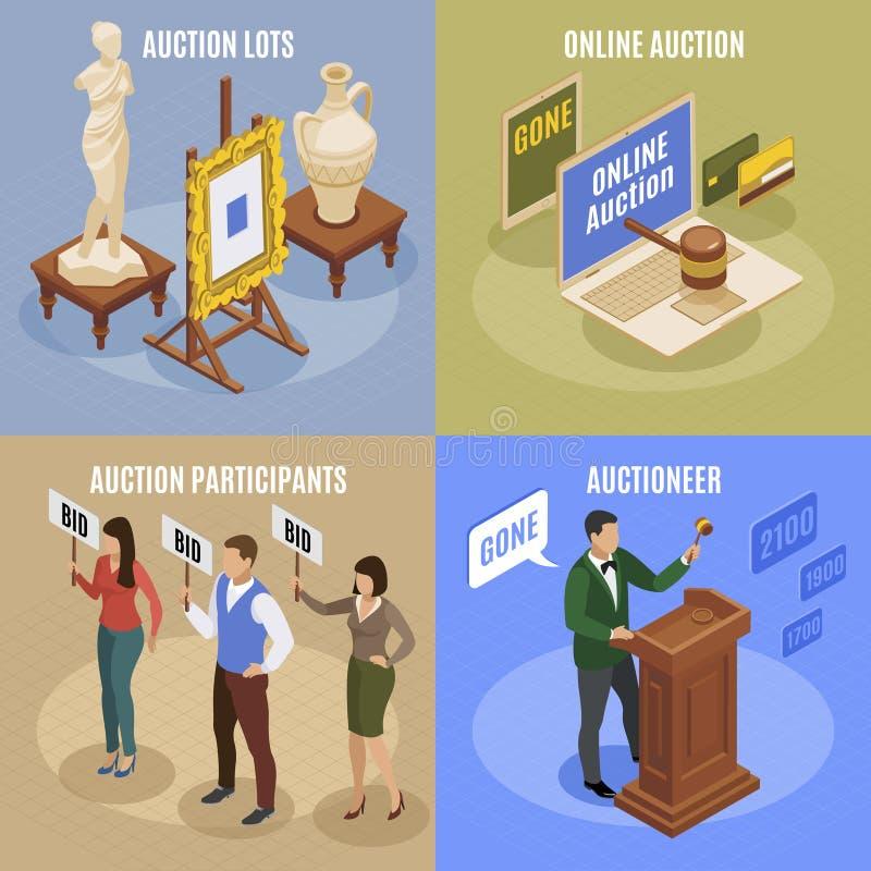 Isometrisk begreppsuppsättning för auktion vektor illustrationer