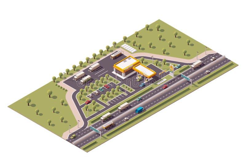 Isometrisk bensinstation för vektor royaltyfri illustrationer