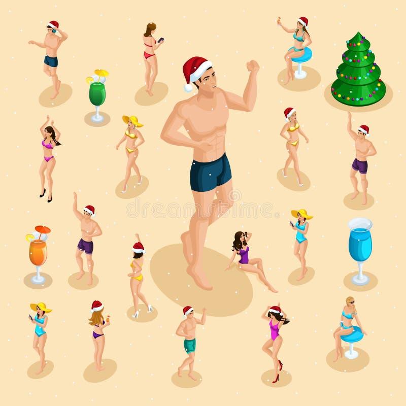 Isometrisk beröm av jul på havsstranden, män och kvinnor har gyckel, stora danser för en man, en julgran, drinkar, lycka vektor illustrationer