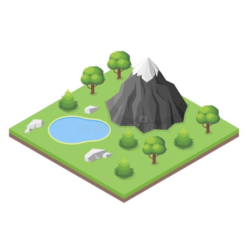 Isometrisk bergsjö i träna stock illustrationer
