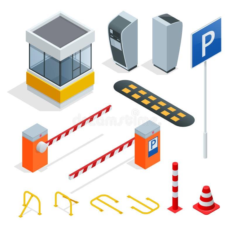Isometrisk beståndsdeluppsättning för isometrisk parkering Symboler för att parkera bilar Böter och beståndsdelar av parkering Sy stock illustrationer