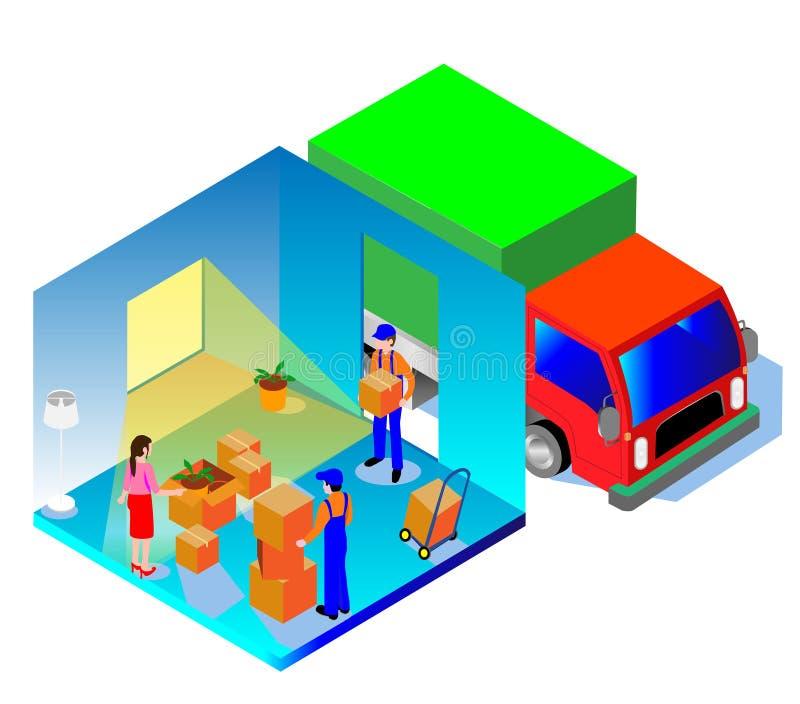 Isometrisk bild av den hem- leveransen av saker Folk och askar i isometriskt royaltyfri illustrationer