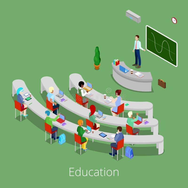 Isometrisk bildande process Plant föreläsningsrum för universitet 3d med läraren och studenter vektor illustrationer