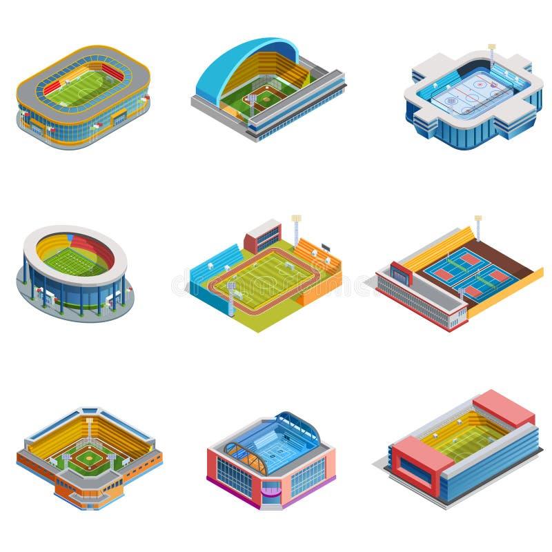 Isometrisk bildstadionuppsättning stock illustrationer