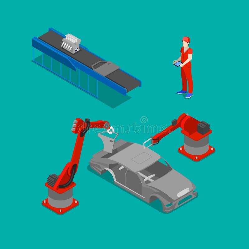Isometrisk bilproduktion Monteringsbandfabrik vektor illustrationer