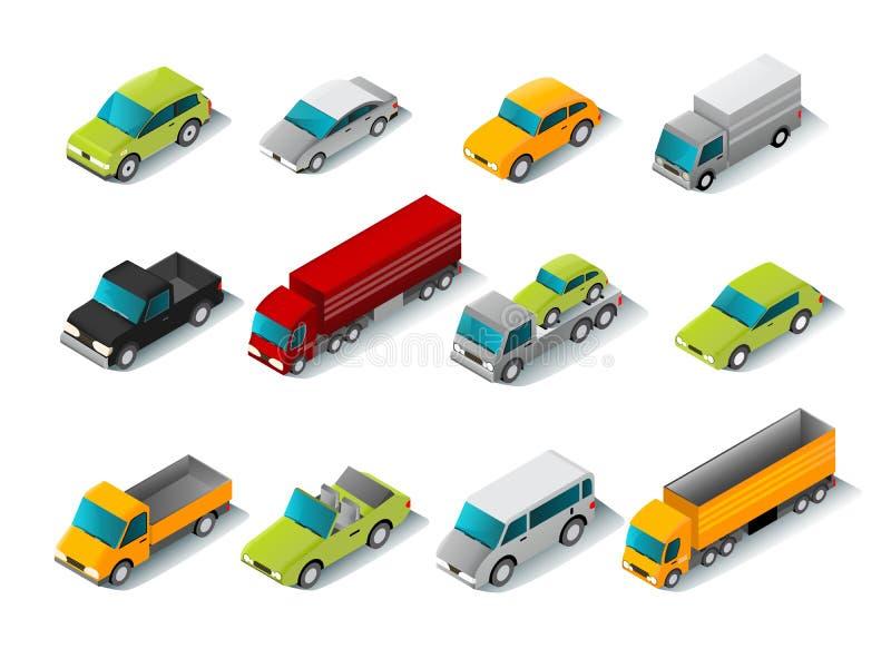 Isometrisk bilsymbolsuppsättning stock illustrationer