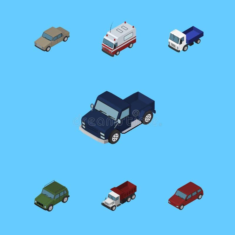 Isometrisk biluppsättning av bepansrat, frakter, bil och andra vektorobjekt Inkluderar också drev, automatiskn, hjälpmedelbestånd stock illustrationer