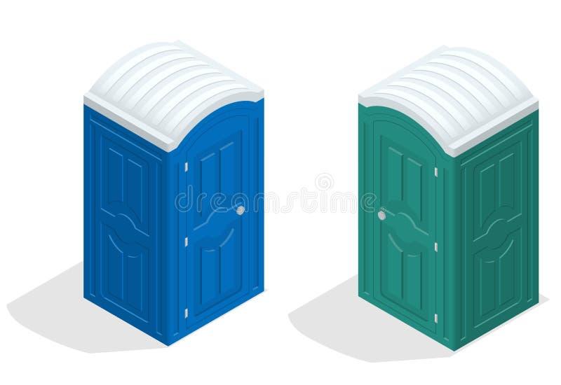 Isometrisk bio toalettkabin Blått och gräsplan Fotvandra service Plan symbol för färgstilvektor vektor illustrationer