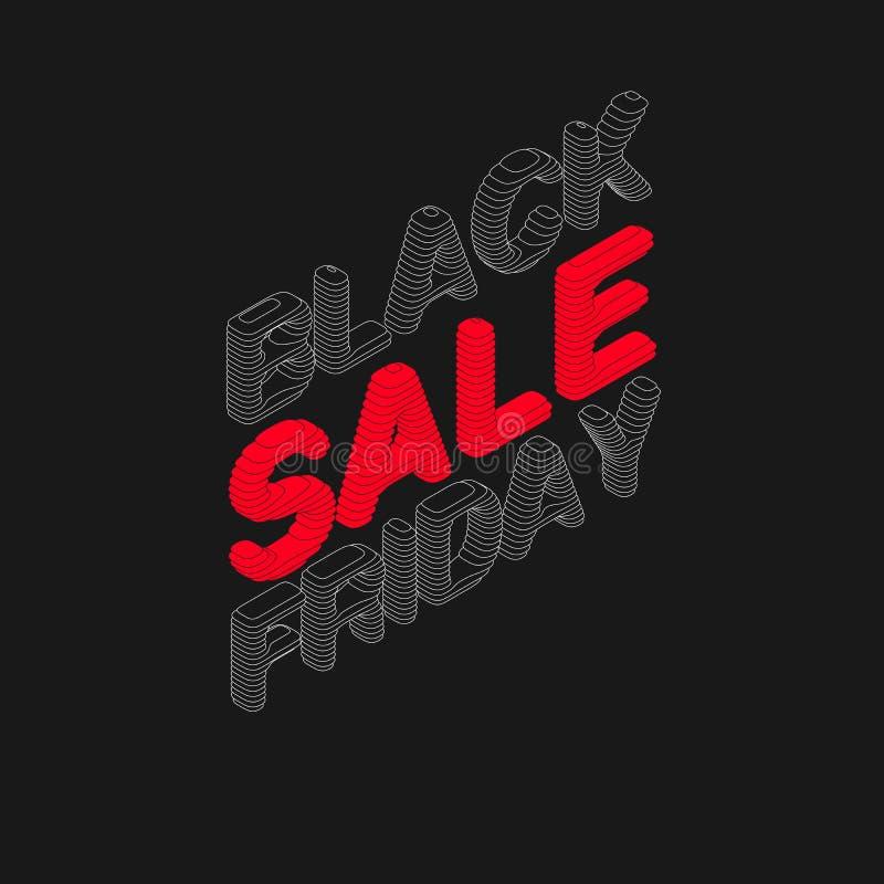 Isometrisk Black Friday Sale för vektor text med skivade bokstäver 3d Design för för papperssnitttitelrad eller etikett Klipp oot royaltyfri illustrationer