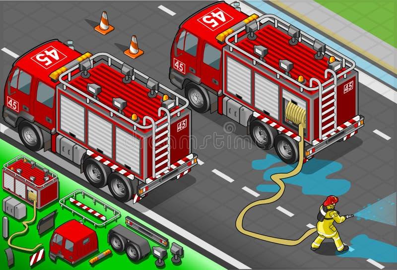 Isometrisk brandman Truck i bakre sikt royaltyfri illustrationer