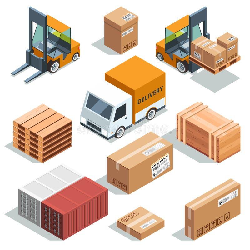 Isometrisk branschmaskin för lastning, frakter och olika askar och paletter Logistiska illustrationer stock illustrationer