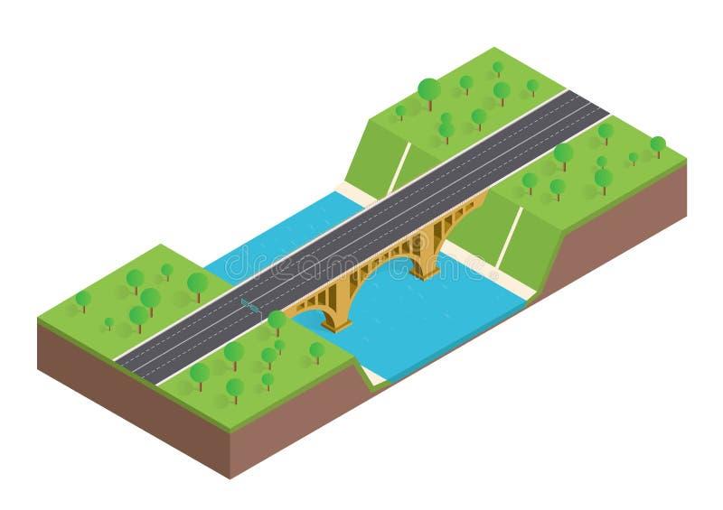 Isometrisk bro över floden royaltyfri illustrationer