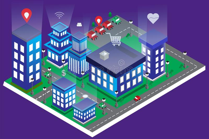 Isometrisk byggande aparment för modern stad och intelligent av teknologiradion stock illustrationer