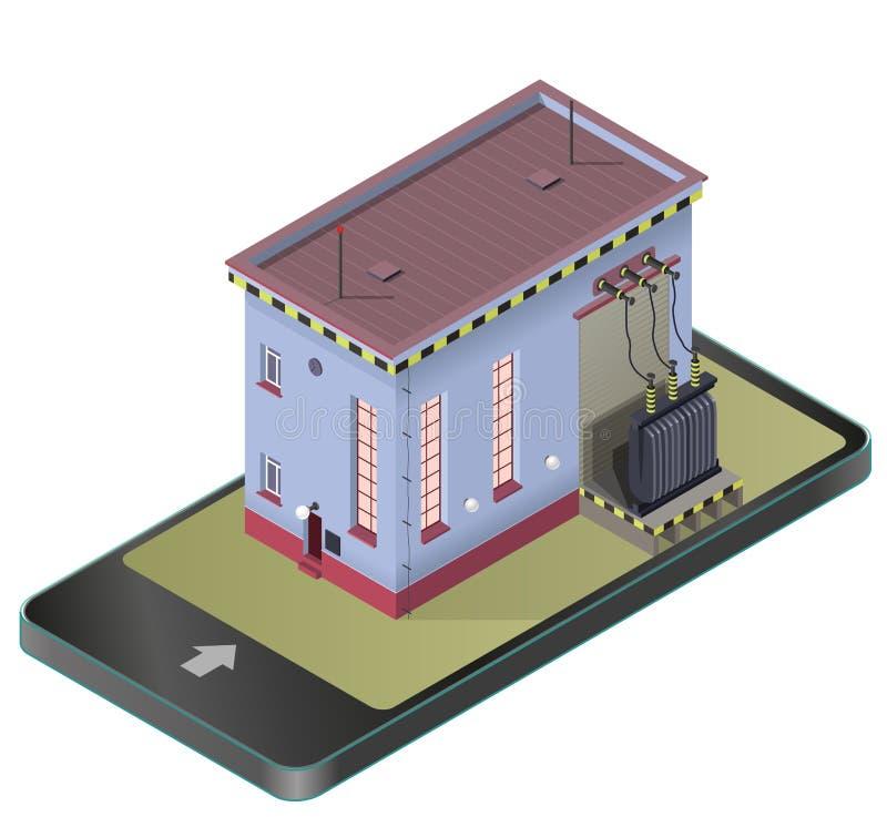 Isometrisk byggnad för elektrisk transformator i mobiltelefon Vektorhög-spänning kraftverk i parafras för kommunikationsteknologi vektor illustrationer
