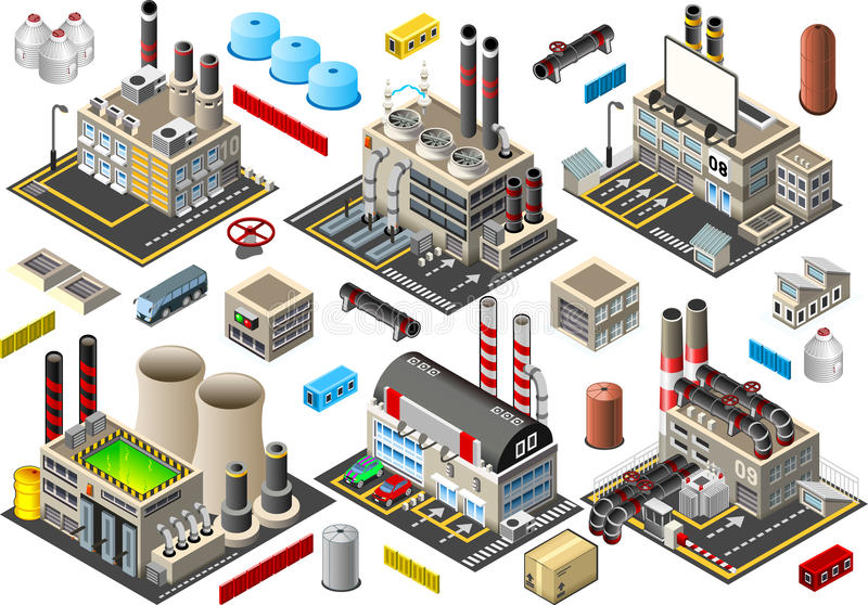 Isometrisk byggnadsfabriksuppsättning vektor illustrationer