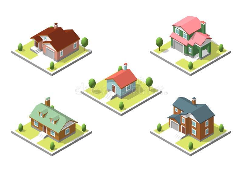 Isometrisk byggnadsuppsättning Plan stil Vektorillustration Urban och lantlig hussamling royaltyfri illustrationer