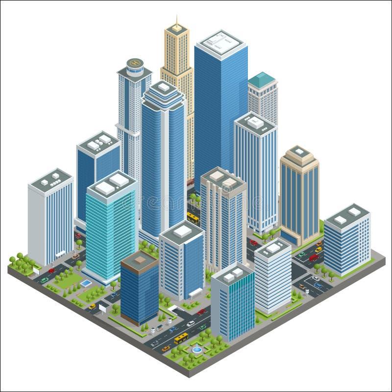 Isometrisk centrumöversikt för vektor med använt skyskrapa-, kontors-, diversehandel-, gata-, medel-, reklamfilm- och affärsområd vektor illustrationer