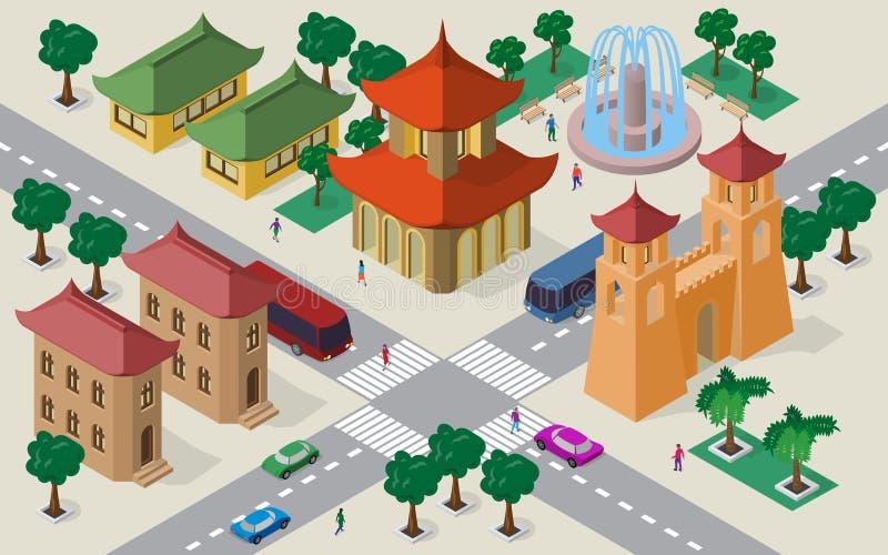 Isometrisk cityscape av östliga asiatiska byggnader, gator, pagoden, fästningportar, springbrunnen, tvärgatan, bilar, bussar och  royaltyfri illustrationer