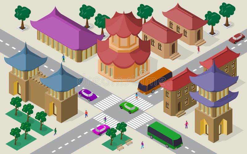 Isometrisk cityscape av östliga asiatiska byggnader, gator, pagoden, fästningtorn, tvärgatan, bilar, bussar och folk stock illustrationer