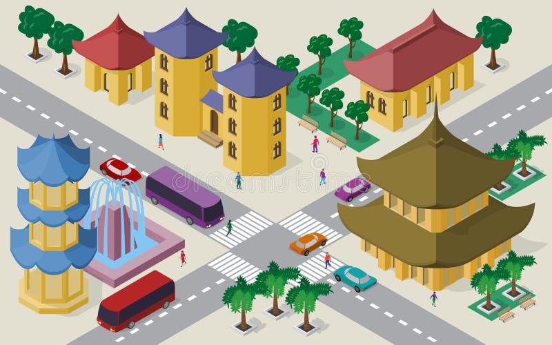 Isometrisk cityscape av östliga asiatiska byggnader, gator, pagoden, springbrunnen, tvärgatan, bilar, bussar och folk vektor illustrationer