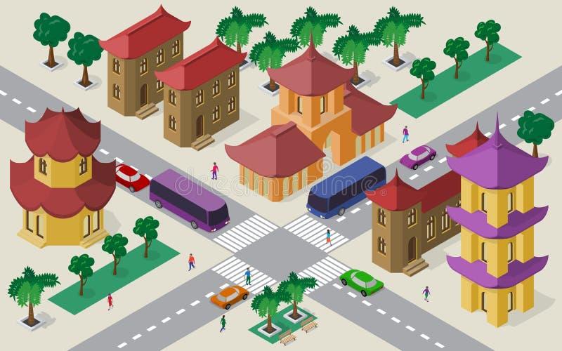 Isometrisk cityscape av östliga asiatiska byggnader, gator, pagoden, tvärgatan, bilar, bussar och folk royaltyfri illustrationer