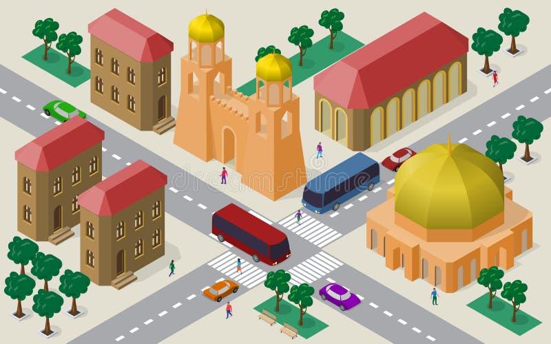 Isometrisk cityscape av byggnader, gator, fästningporten med torn, körbanan, bilar, bussar och folk vektor illustrationer