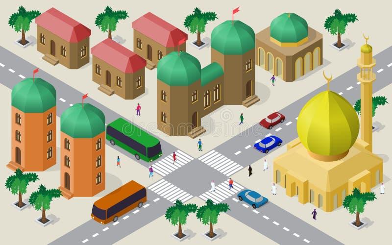 Isometrisk cityscape av byggnader, gator, moskén, tvärgatan, bilar, bussar och folk stock illustrationer