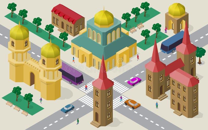Isometrisk cityscape av byggnader, gator, templet, körbanan, bilar, bussar och folk royaltyfri illustrationer