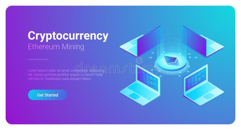 Isometrisk Cryptocurrency Etherium handelplattform stock illustrationer