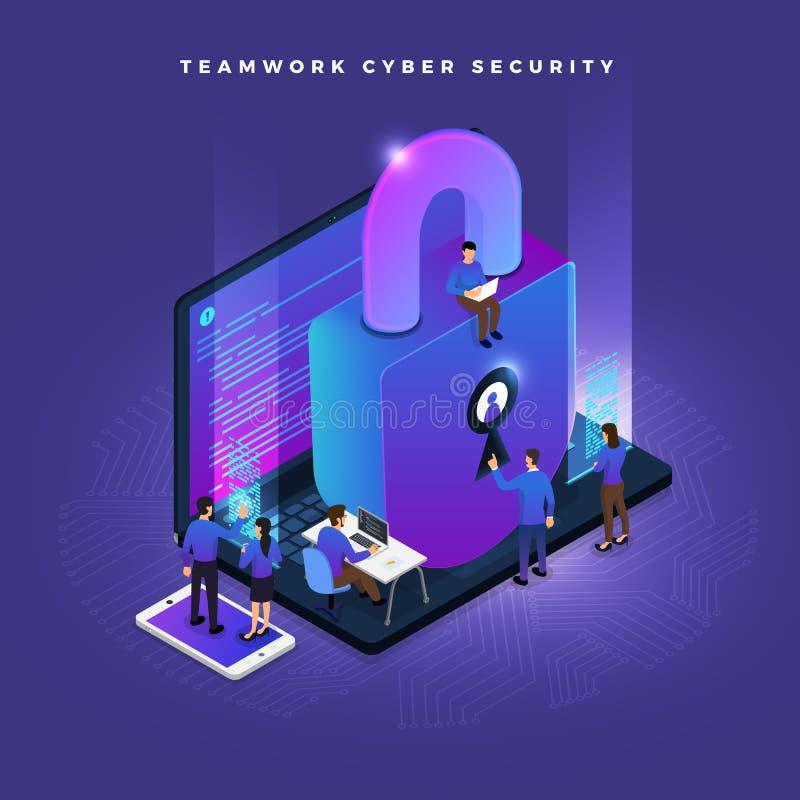 Isometrisk cybersäkerhet royaltyfri illustrationer