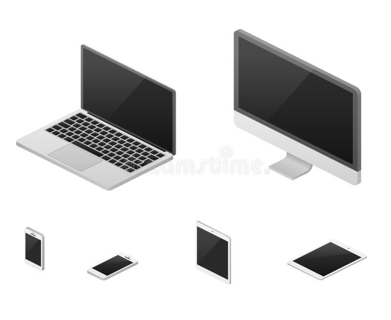Isometrisk 3d bärbar dator, minnestavla, smartphone, beståndsdelar för vektor för design för rengöringsduk för datorskärm svars- vektor illustrationer