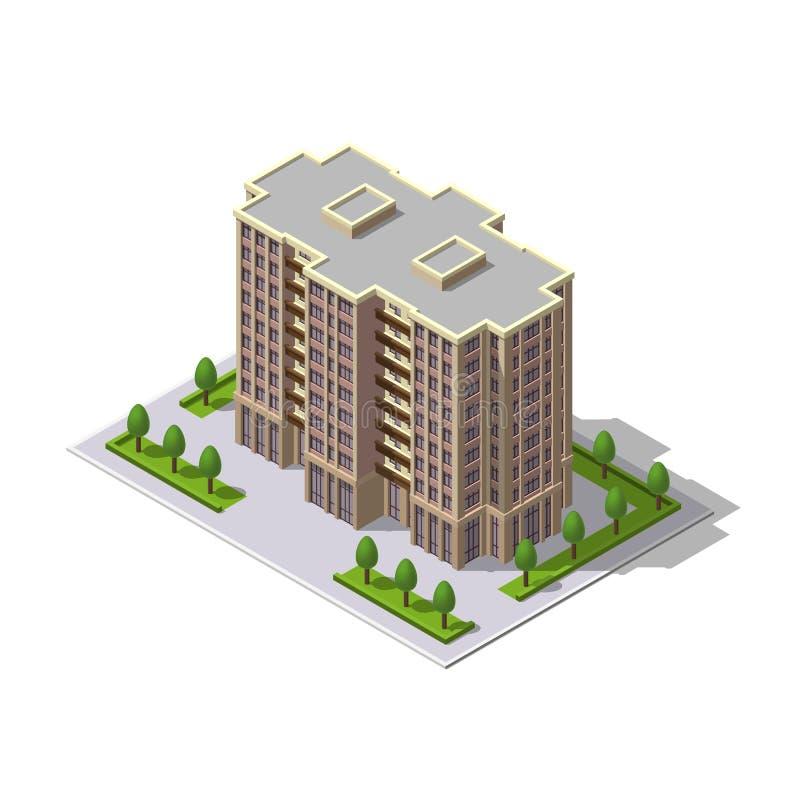Isometrisk 3D byggnad för vektor, torn royaltyfri illustrationer